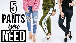 5 PANT STYLES Every Woman NEEDS In Her Closet! *essentials*