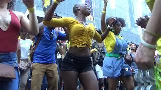 BRAZILIAN GIRLS DANCE AT BRAZILIAN CARNIVAL WITH BRAZILIAN SAMBA ORCHESTRA DRUMS MUSIC