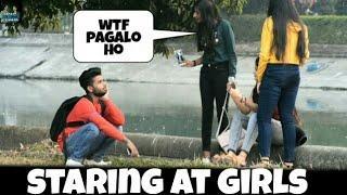 STARING AT GIRLS IN INDIA PRANK || PRANK ON CUTE GIRLS  || BY - MOUZ PRANK