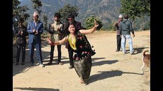 Beautiful Nepali girls dancing on traditional dress