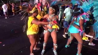 WEST INDIAN CARIBBEAN TRINIDAD BAHAMAS CARNIVAL GIRLS DANCERS GROUP COMPETE AT MIAMI STAGE CONTEST