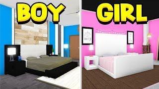 BOY vs GIRL BEDROOM BUILD OFF!! (Roblox Bloxburg)