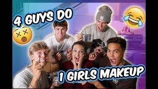 4 GUYS DO 1 GIRLS MAKEUP!