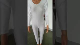 2261 White HDW DANCE Long Sleeve Unitard(Ankle-Length) Ladies and Girls