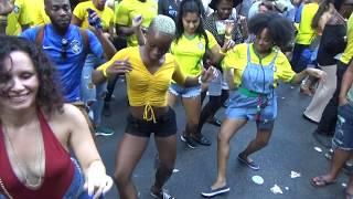 BRAZILIAN GIRLS DANCE AT BRAZILIAN CARNIVAL TO SAMBA CARNIVAL DRUMS ORCHESTRA MUSIC