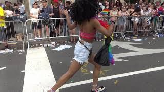 BLACK GIRL DANCER AT LGBT PRIDE DAY NEW YORK NYC - BLACK GIRLS DANCE PARADING IN NEW YORK STREETS