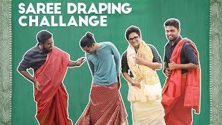When Guys Try Wearing The Saree | Saree Draping Challenge | Fun Challenge Video