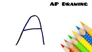 Easy Drawing ! How Letter A turns into Love Girl - step by step for kids doodle art