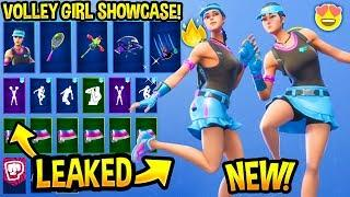 """*NEW* """"VOLLEY GIRL"""" SKIN SHOWCASE WITH ALL LEAKED & BEST FORTNITE DANCE EMOTES..! (Tennis Skin)"""