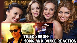 Foreigner girls react Tiger Shroff dance and song mashup reaction