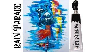Girl in the Rain  Easy Painting in acrylic for beginners