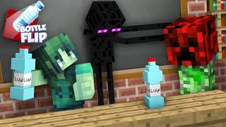 Monster School : GIRLS VS BOYS BOTTLE FLIP CHALLENGE - Minecraft Animation