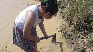 Beautiful Khmer Girl Fishing | Amazing Cast Net Fishing | Cambodia Fishing - Khmer Girl Fishing #11