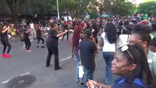 BLACK GIRLS DANCERS DANCE TO AFROBEATS AT STREET PARADE HARLEM NEW YORK CITY