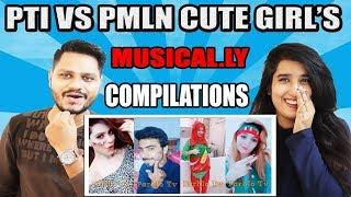 Indian Reaction On PTI VS PMLN Cute Girl's Musically Dance Compilations - Political Musical.ly